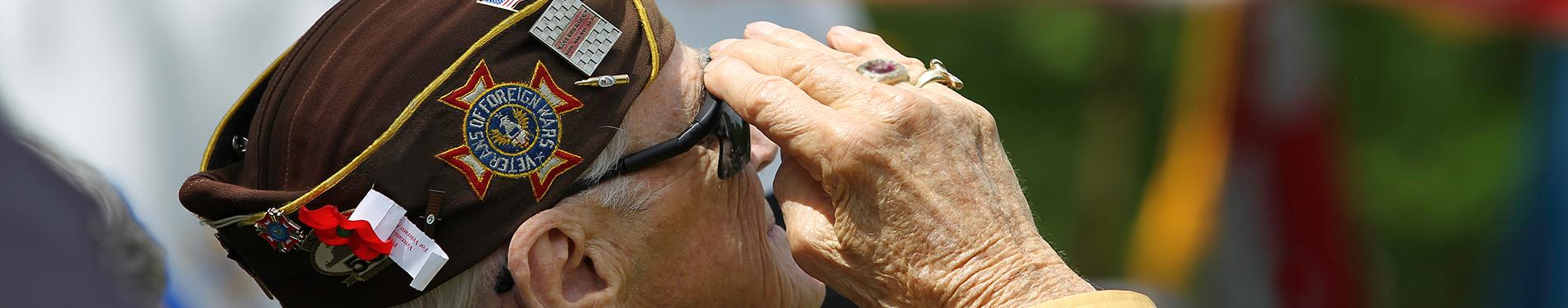 A senior veteran salutes